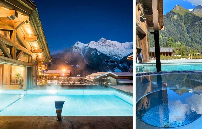 Hotel pool overlooking snow tipped mountains