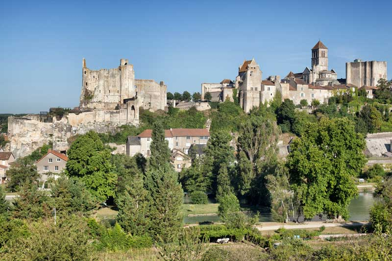 View over a small town dominated by a glorious stone castle, Chauvigny, Vienne