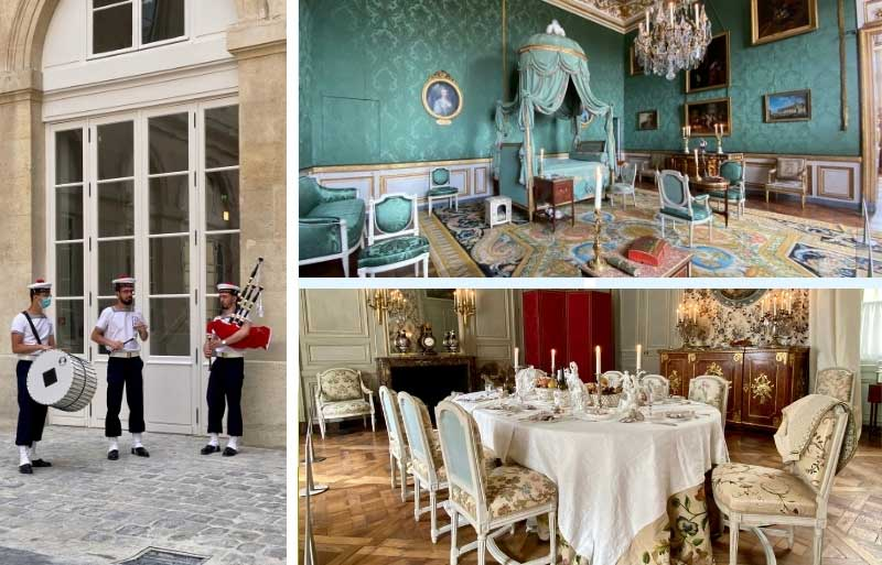 Beautiful dining room laid as if a dinner party is to take place at Hotel de la Marine