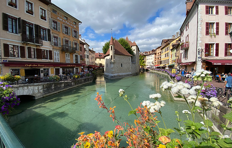 Boat chaped stone building in the Canal at Annecy, once the town jail