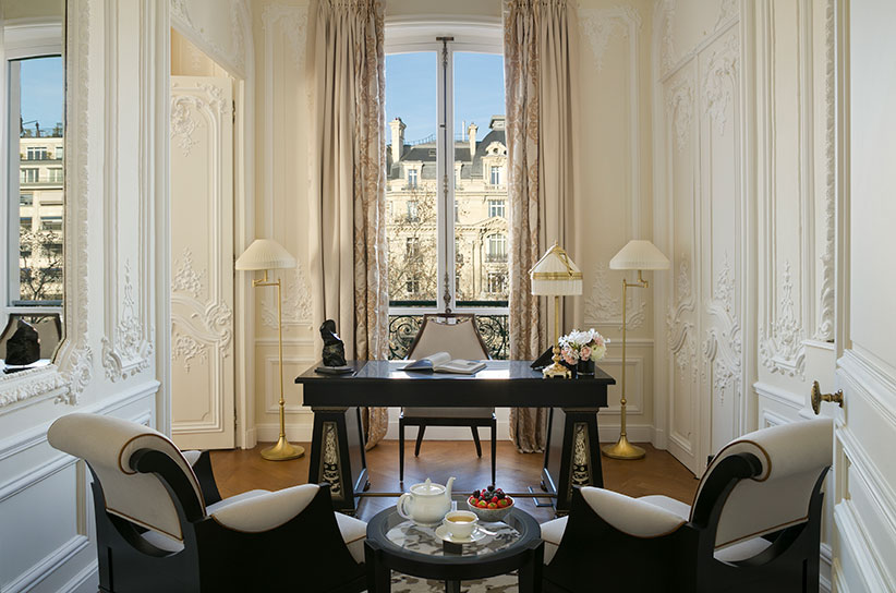 Stylish hotel room overlooking Champs Elysees Paris at Le Fouquet's Hotel