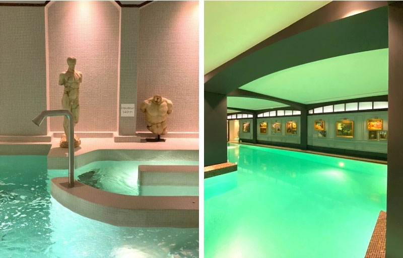 Spa and pool with statues and paintings all around
