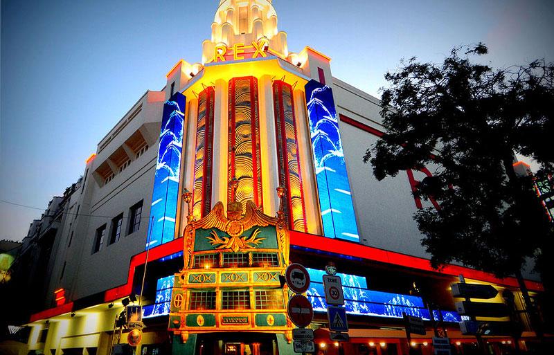 Grand Rex Cinema Paris, it's art deco facade lit up at night
