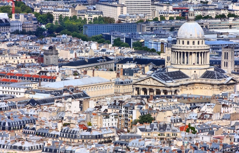 Pantheon building towers over Paris rooftops