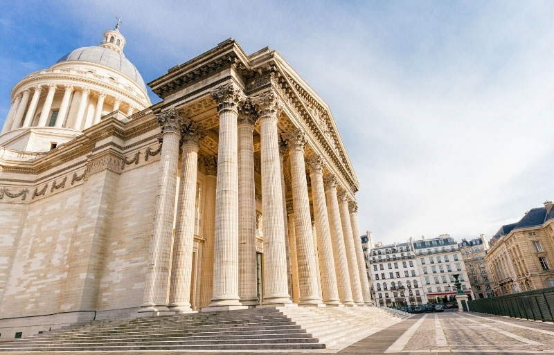 Monumental Pantheon building, colonnaded facade, topped by a giant dome