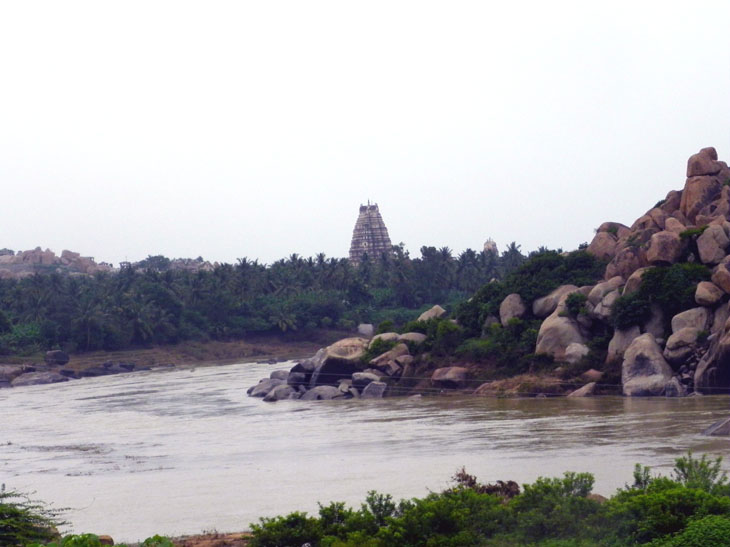 Hampi_RiversidePath_VirupakshaTemple - Magical sights of Hampi