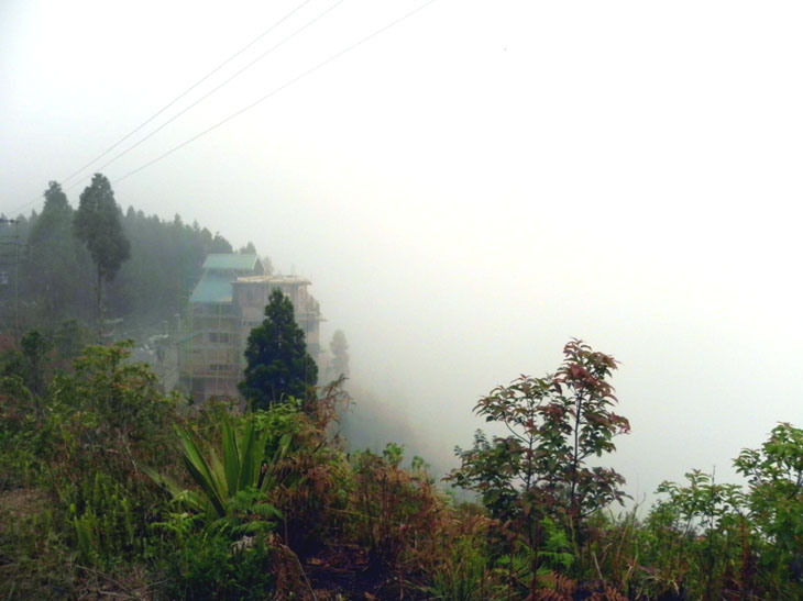 House under construction on Deolo Hill in Kalimpong, West Bengal, India - an escape from the summer heat