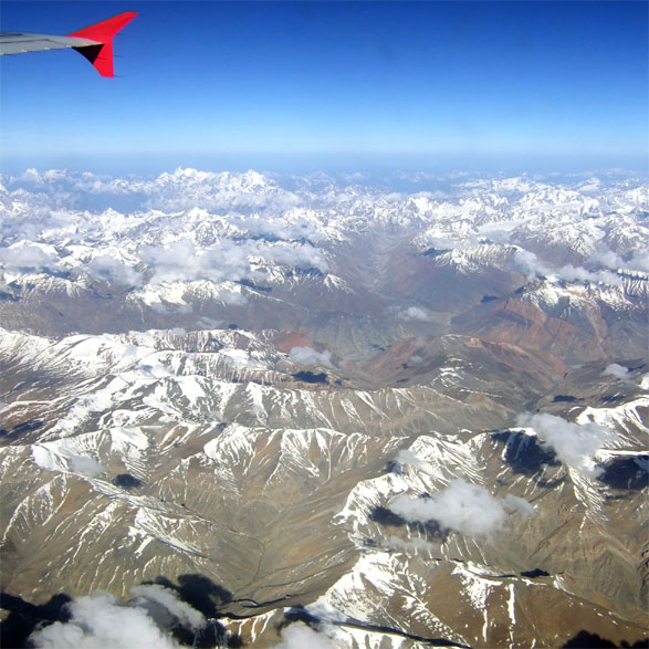 Leh - Himalayas from plane - Eight things we learned in Ladakh