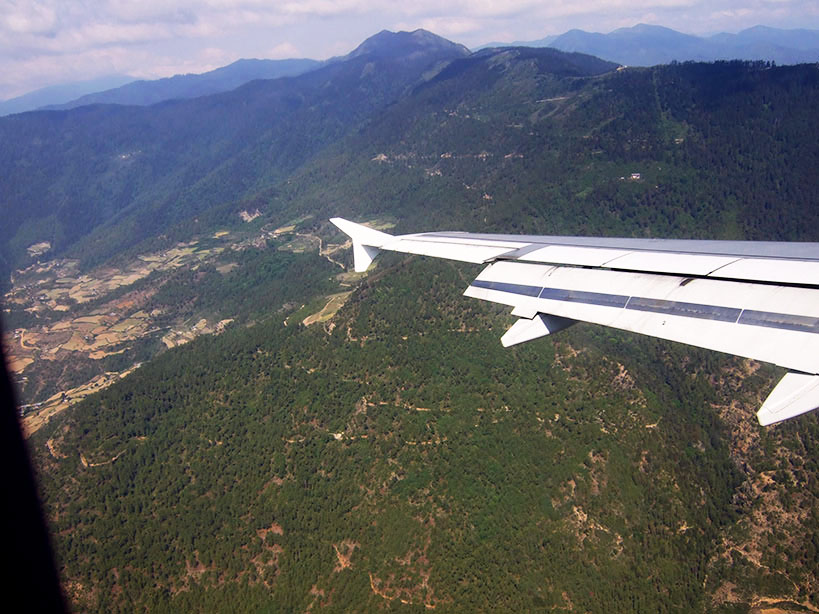 Flight to Paro, Bhutan - responsible traveller