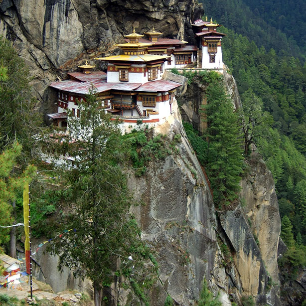 The trek up to the tiger's nest - taktsang - monastery near Paro, Bhutan - an escape from the summer heat