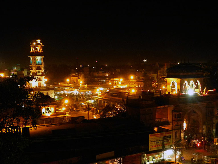 Sardar market at night in Jodhpur, Rajasthan, India