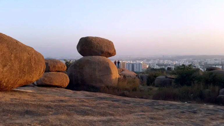 Rocks at Fakhruddingutta overlooking Manikonda in Hyderabad, Telangana, India