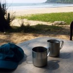 Cold beer in steel mugs on Talpona beach near Agonda in Goa, India