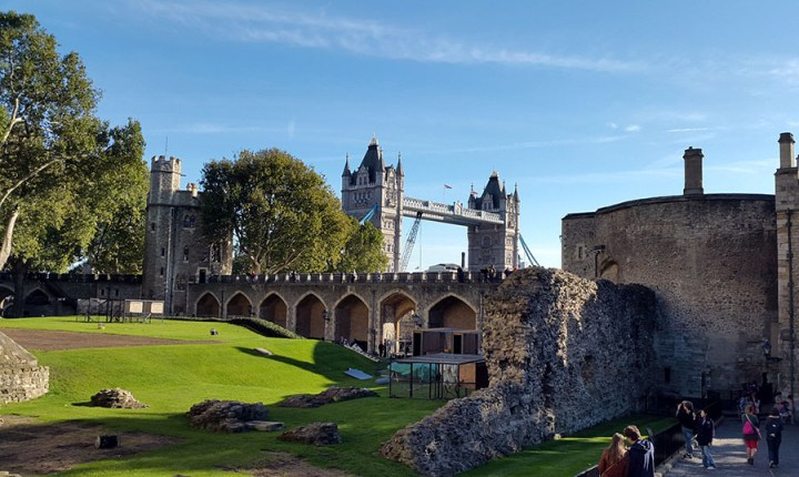 View of Tower Bridge from inside the Tower of London - travel mistakes we made