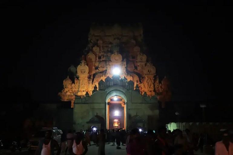 Thanjavur - Outer gopuram at night - Temples of Madurai and Thanjavur