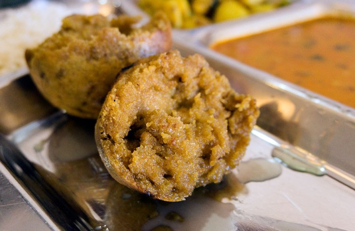 Dal baati choorma - wholewheat balls with lentils - Rajasthan - Indian veggie dishes