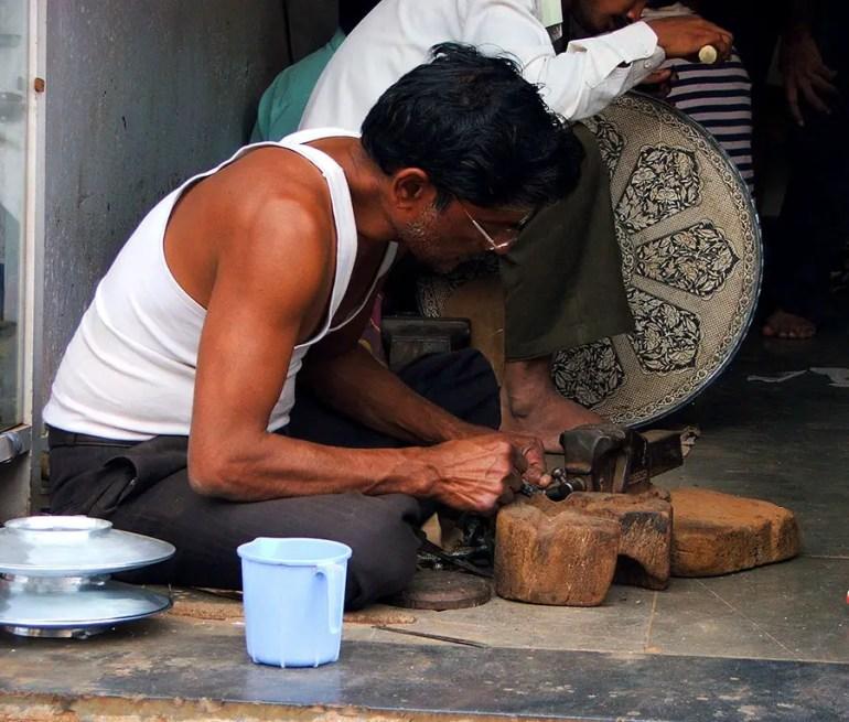 Bidri artisans at work in Bidar, Karnataka, India