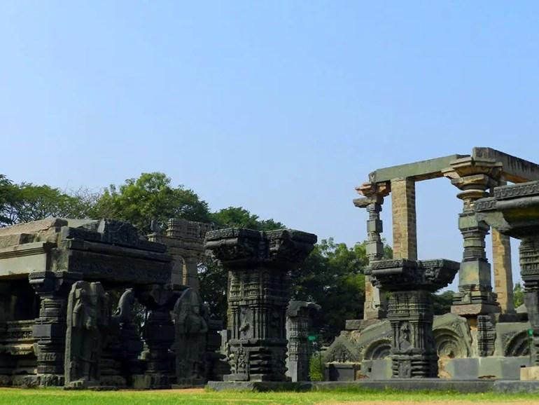 Remains of the Shiva temple inside Warangal fort, Warangal, Telangana, India