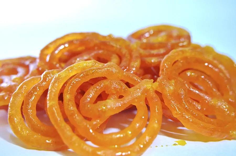 Jalebi, a popular Indian sweet - Gujarat - vegetarian dishes from India