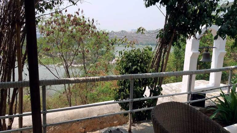 view of durgam cheruvu lake from lower deck of olive bistro, jubilee hills, hyderabad, india