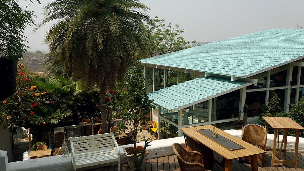 top view of olive bistro and hoppery in jubilee hills, hyderabad, india