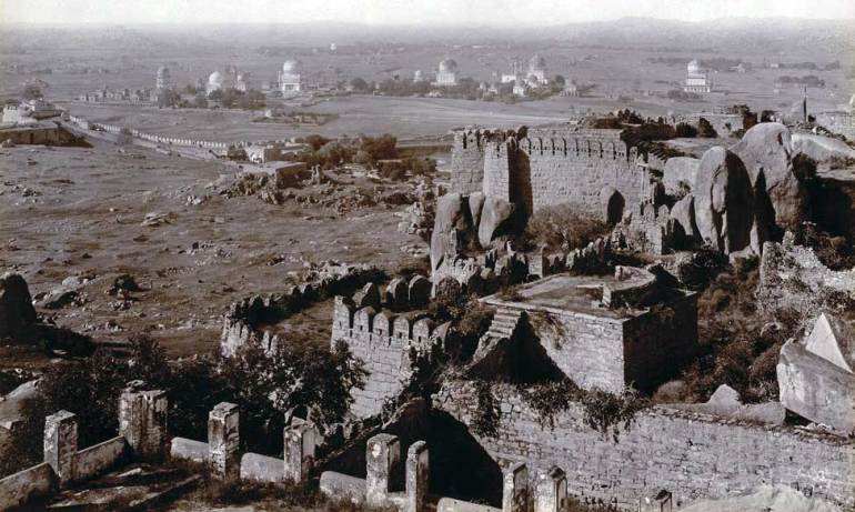 historic photograph of qutb shahi tombs from golconda fort taken in 1902
