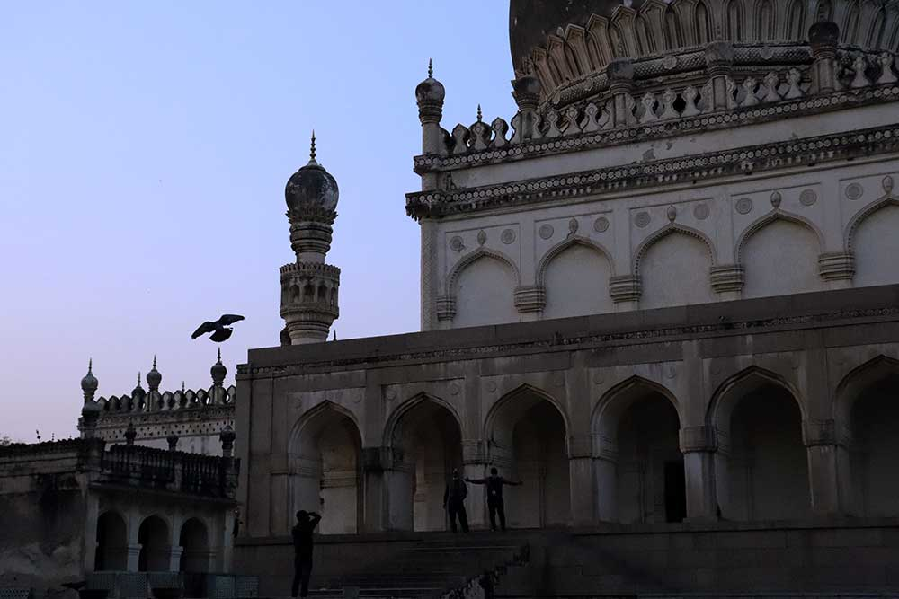 tomb of hayat bakshi begum and great mosque, qutb shahi tombs, hyderabad, india