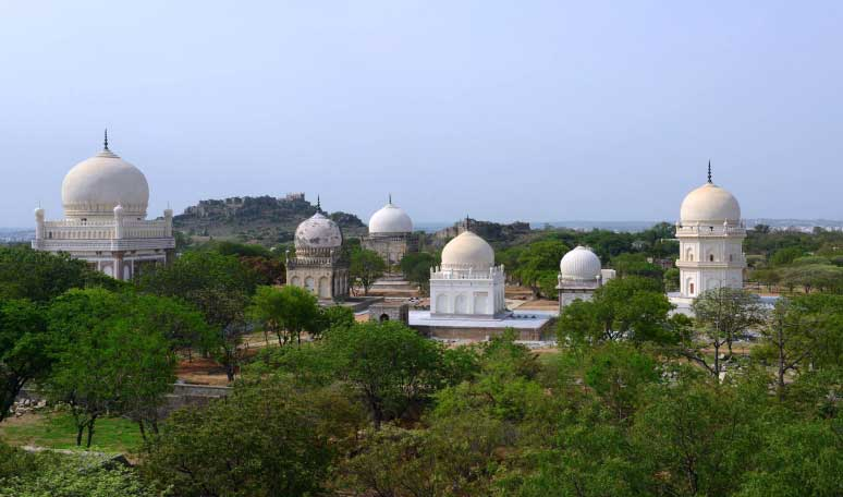Restored-Qutb-Shahi-tombs-with-Golconda-fort