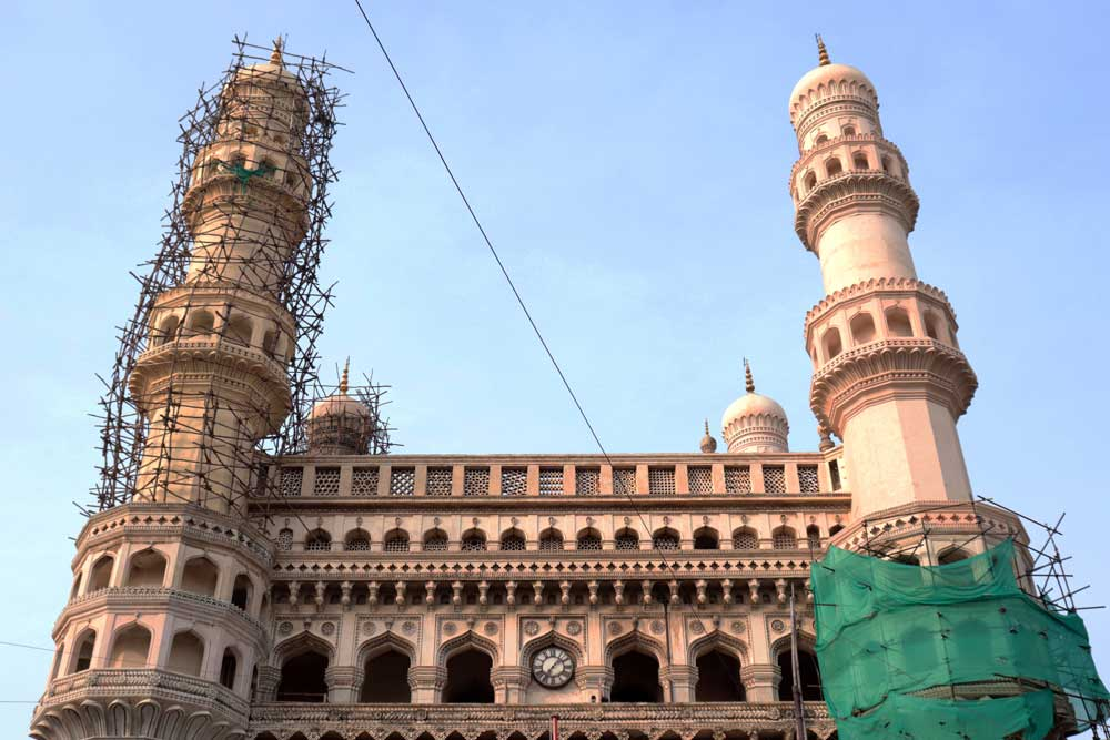 Charminar under renovation in the morning - the best time to visit Charminar