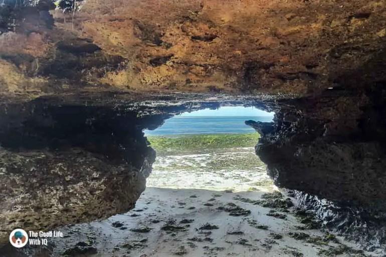 Rock tunnel on the beach in Malindi
