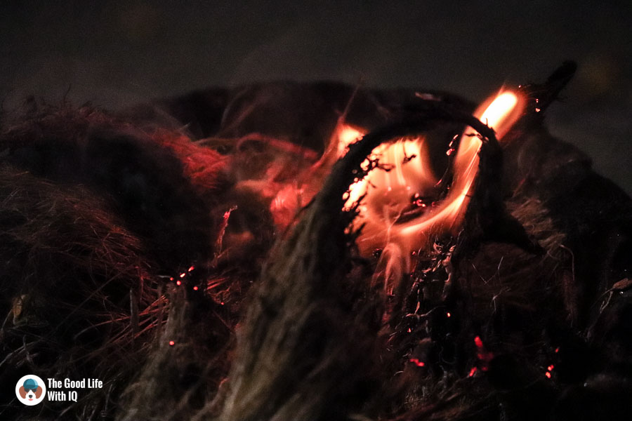 Burning coconut husk - Durga Puja 2018