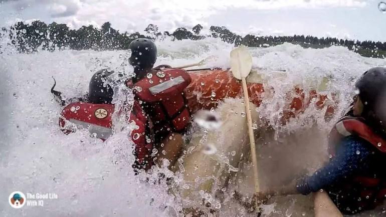 Falling into white water, Jinja, Uganda