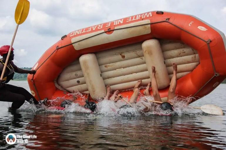 Rafting safety lession, Jinja, Uganda