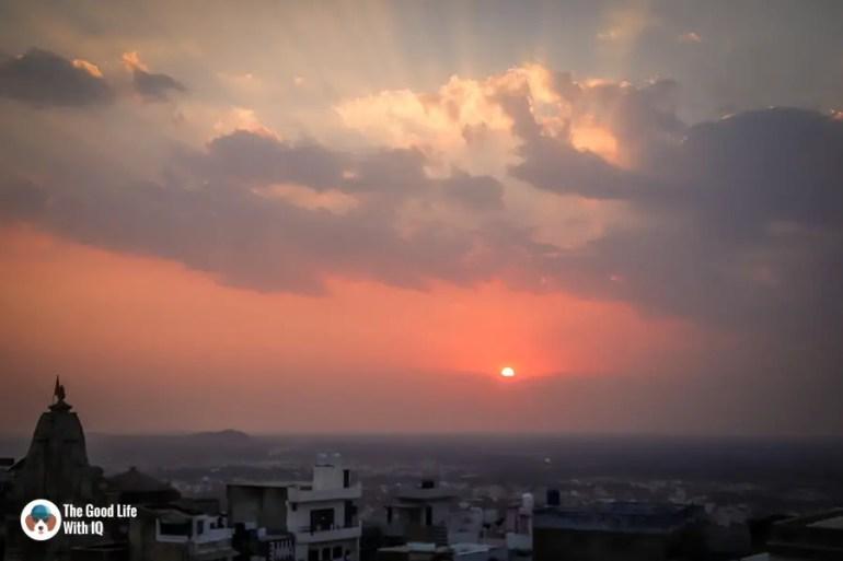 Temple at sunset - Chittorgarh
