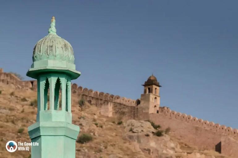 Minaret and fort walls, Amer, Jaipur
