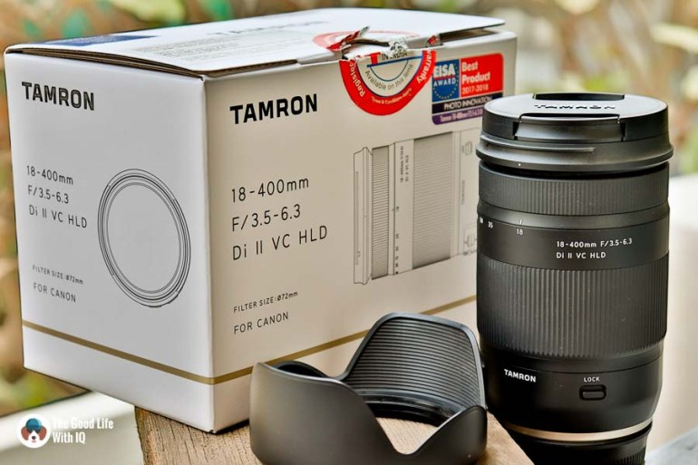 Lens, hood and box - Tamron 18-400 review