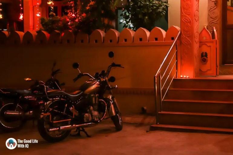 Parked bike and diyas - Sawai Madhopur