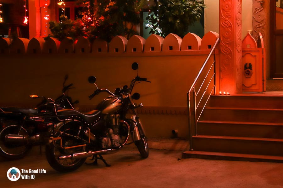 Parked bike and diyas - Sawai Madhopur