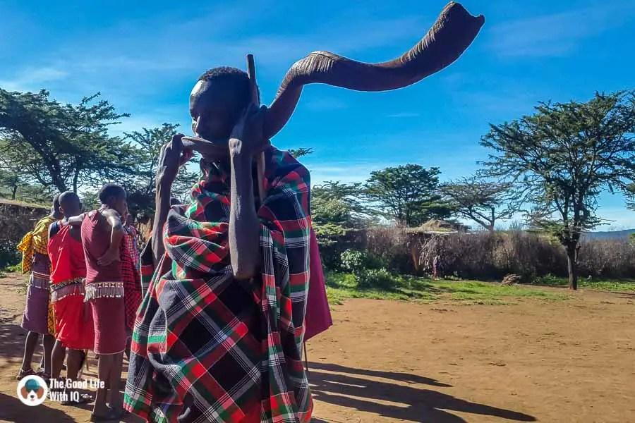 Kenya safari - Masai Mara - Masai kudu horn trumpet