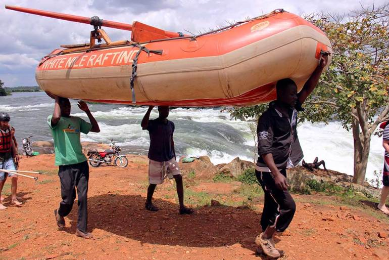 Raft being carried - Jinja, Uganda