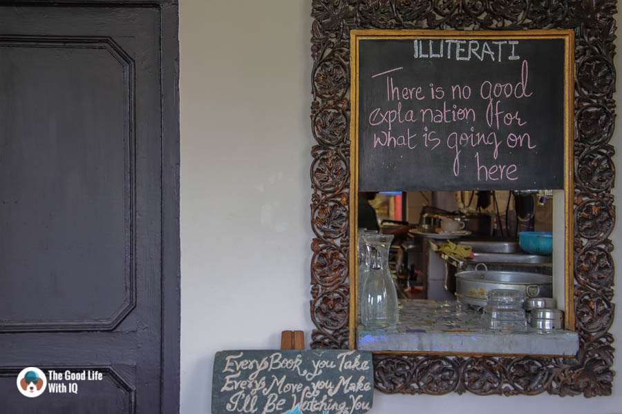 Signboards at Illiterati Cafe, McLeodganj, Dharamshala