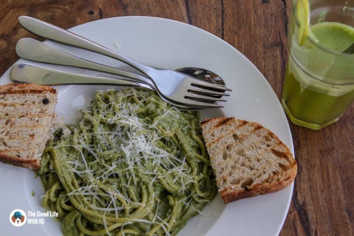 Pesto spaghetti at Illiterati Cafe, McLeodganj, Dharamshala