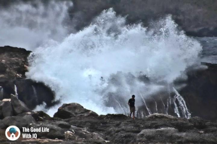 Crashing waves, Blue lagoon, Ceningan, Bali
