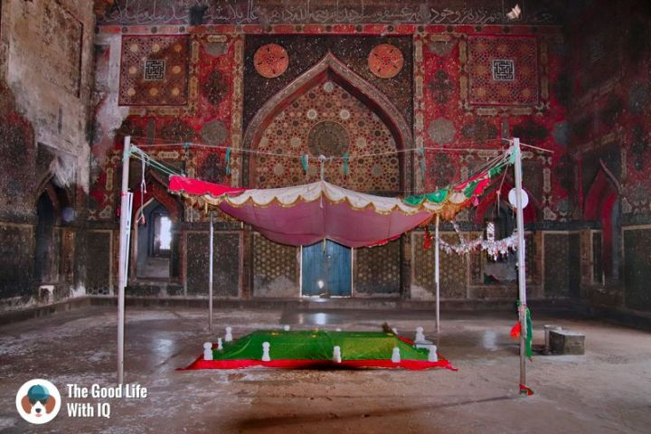painted interior of ahmed shah's tomb - Hyderabad to Bidar road trip