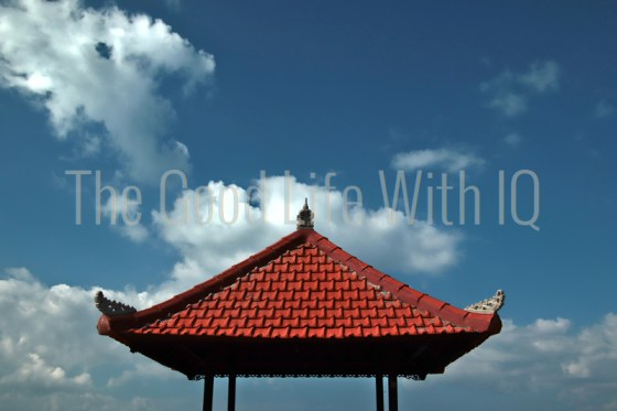 Gazebo roof against the sky in Bali