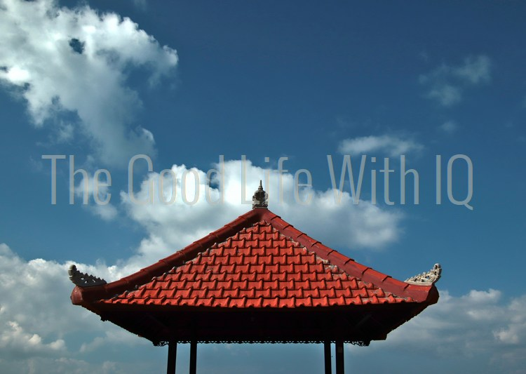 Gazebo roof against the sky in Bali