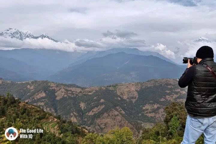 Taking photos of the mountains in Deurali, Pokhara, Nepal