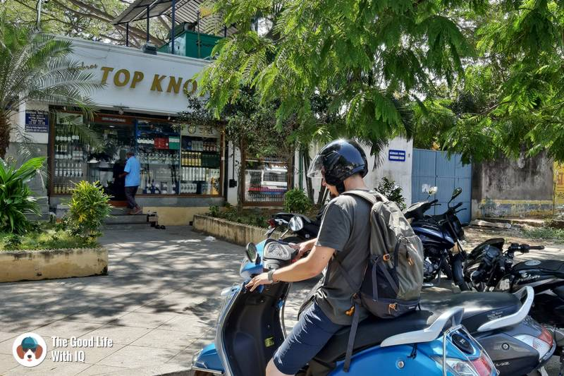 Stopping for beer at Top Knotch - 3 day trip to Pondicherry