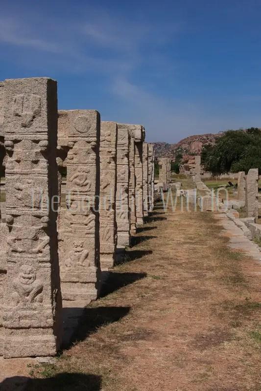 Vertical image of carved granite pillars in Hampi (preview)