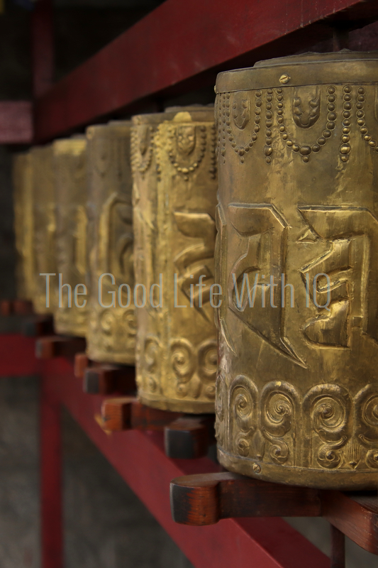 Vertical image of Tibetan prayer wheels in Dharamsala (preview)